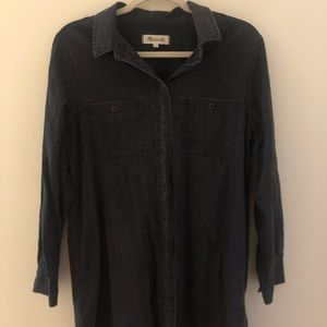 Black denim mini Madewell dress